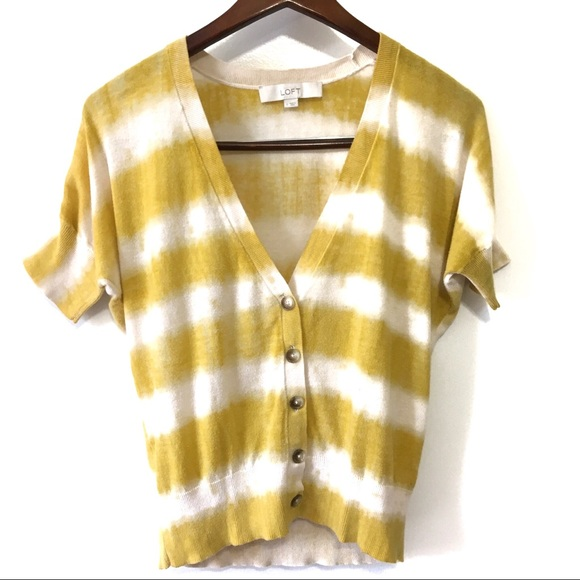 LOFT Sweaters - LOFT 100% Cotton Short Sleeve Striped Cardigan S